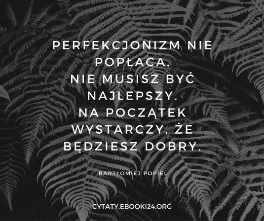 Bartłomiej Popiel cytat o perfekcjonizmie