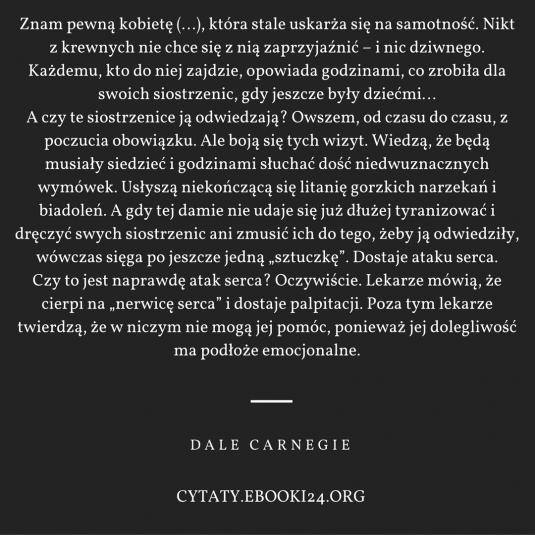 Dale Carnegie cytat o narzekaniu i samotności