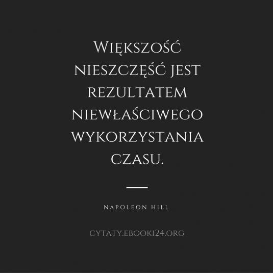 Napoleon Hill cytat o nieszczęściach