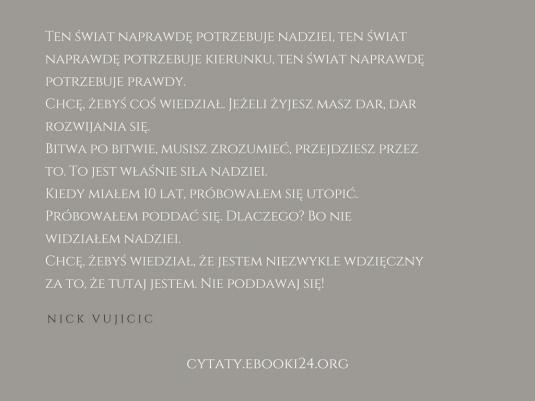 Nick Vujicic cytat o nadziei