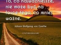 Johann Wolfgang von Goethe cytat o tym co najważniejsze